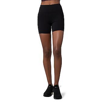 Naisten korkeavyötäröiset pehmeät shortsit, joissa 5 tuuman sisään- ja sivutaskut