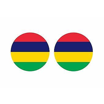 2x stick klistermärke rund cocarde flagga mauritius ön