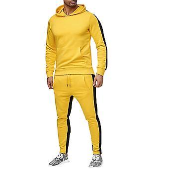 YANGFAN Men's 2 κομμάτια φόρμες που τρέχουν τζόκινγκ αθλητικά casual ρούχα κοστούμι αθλητικά κουκούλα Top + Παντελόνι ιδρώτα κοστούμια