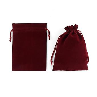 Multi Size Wine Red Drawstring Velvet Bags Organza Storage Pouches