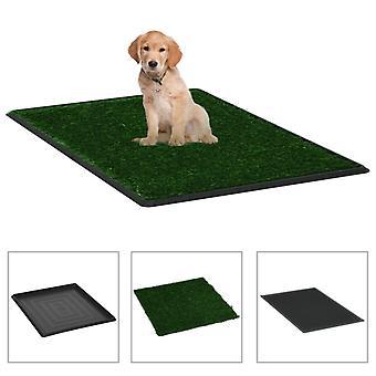 vidaXL الحيوانات الأليفة مرحاض مع صينية والعشب الاصطناعي الأخضر 64x51x3cm مرحاض