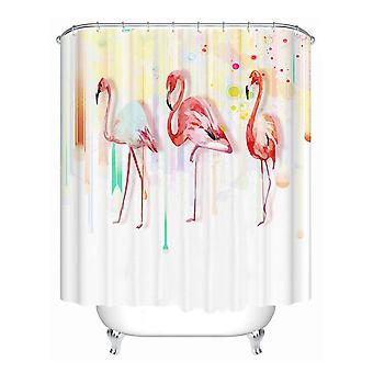1.8x1.8m Three Flamingos Elephant Waterproof Shower Curtain Polyester Fabric Bathroom Home Decor 12 Hooks