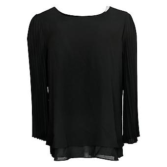 Laurie Felt Women's Top Printed Blouse with Pleated Sleeves Black A346618