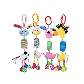 4pcs Colorful Animals Rattling Doll Cute Baby Hanging Toys With Chime For Children Soft Plush Rattle Toys