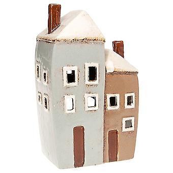 Joe Davies Village Keramik 2 Hus Keramisk Tealight Ljushållare