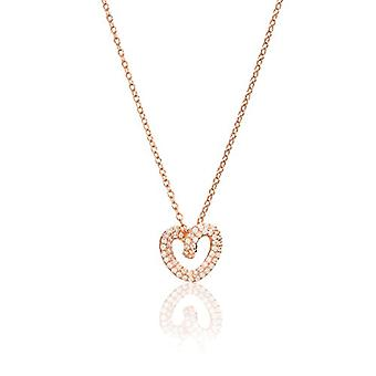 Eye Candy, women's necklace, Sterling silver 925 rose gold, heart gold pendant with 60 white zircons, 45 cm - ECJ-NL0123