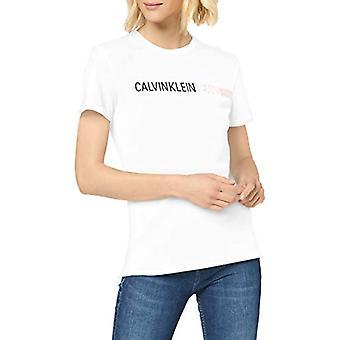 Calvin Klein Stribe Logo Slim Tee T-shirt, Hvid (Bright White Yaf), 46 (Størrelse Producent: X-Large) Kvinde