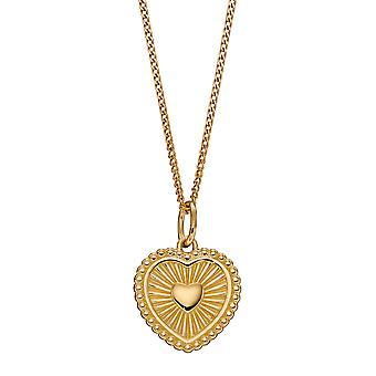Begin 925 Sterling Zilveren Womens Vergulde Sun Ray Getextureerd Design Pretty Heart Hanger Ketting Lengte 41cm + 5cm