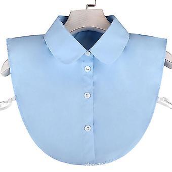 Avtakbar bluse full bomull falsk krage alle matche falsk krage lyseblå