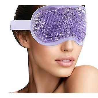 Ice Eye Mask Kolde øjenmaske frosset med plys opbakning til hovedpine, migræne, stress relief (lilla)