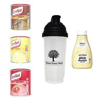Seven Trees Farm Kit with 5 products | 1 x Choco, 1 x Banana, 1 x Strawberry Shakes, 1 x Shaker and 1 x White Chocolate Syrup, Be skinny and healthy!