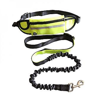 Nylon Elastic Reflective Traction Rope-with Mobile Phone Pocket-green