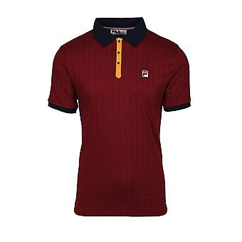 Fila Vintage Fred Perry Classic Vintage Striped Polo Shirt Rhubarb/ Peacoat/ Golden Glow