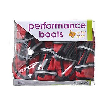 "Fashion Pet Performance Waterproof Fleece Dog Boots - Red - Large - 4.25"" Paw (German Shepherd, Golden Retriever)"