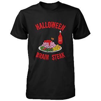 恐怖の夜の面白いシャツ ゾンビ メンズ シャツ面白い t シャツのハロウィーン脳ステーキ