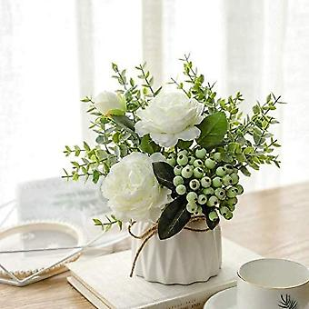 Artificial Flowers With Small Ceramic Vase Silk Roses Arrangements Decorations