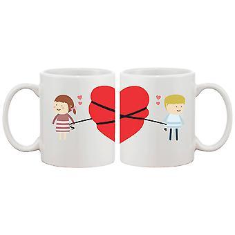Liebe verbindet paar Tassen niedliche Grafik-Design Keramik Kaffeebecher Tasse 11 oz