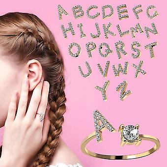 A-Z 26 Letters Initial Name Rings Adjustable Gold Color Shiny Rhinestone CZ Open Cuff Finger Rings Women Jewelry