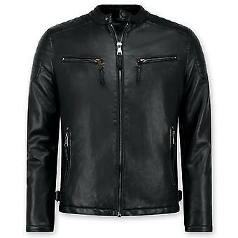 Imitation Leather Jacket - Biker Jack - Black