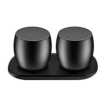 Speakers f1 aluminium alloy stereo wireless bluetooth speaker with charging dock  support hands-free black