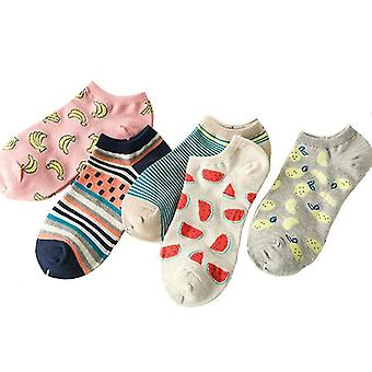 5 Pairs set of cotton summer spring socks, themed(Fruit Style 4)