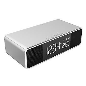 Led elektrische wekker digitale thermometer klok hd klok met telefoon draadloze oplader en datum fm bt bluetooth luidspreker