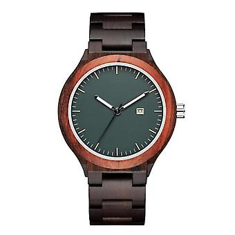 Mens Simple Classic Wooden Watch With Date