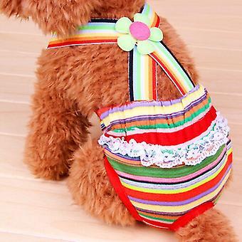 Female Dog Striped Color Suspender Strap Sanitary Pants Striped Panties Briefs Diaper Size Xxs