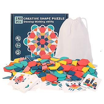 180 stk kreativ form puslespill, tre tangrams mønster blokker sett for barn