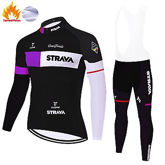 Strava Men's Cycling Suit Long Sleeve  Cycling Clothing Set Thermal Fleece Set /black Purple