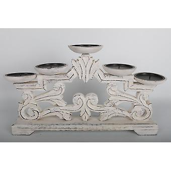 41X25 WOODEN WHITE WASHED 5 CANDLE STAND HOLDER HOME DECORATION