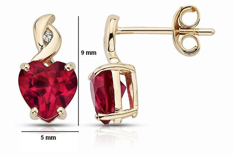 Affici Sterling Silver Earrings 18ct Yellow Gold Plated with Heart Cut Ruby CZ Gems