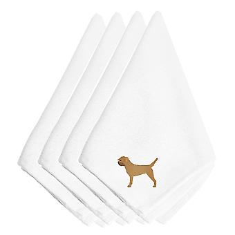 Carolines Treasures  BB3389NPKE Border Terrier Embroidered Napkins Set of 4