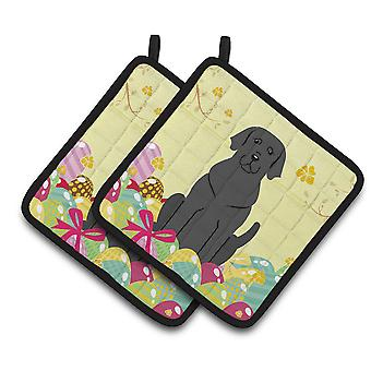 Carolines Treasures  BB6057PTHD Easter Eggs Black Labrador Pair of Pot Holders