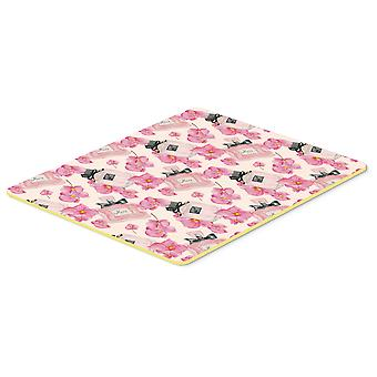 Watercolor Pink Flowers and Perfume Kitchen or Bath Mat 20x30