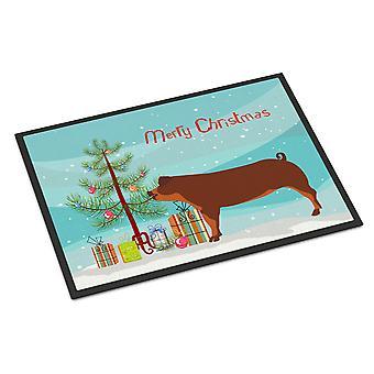 キャロラインズ宝物 BB9309JMAT デュロック豚クリスマス屋内または屋外マット 24 × 36