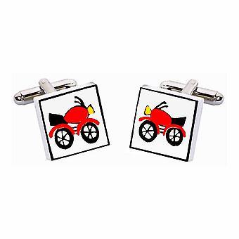 Botões de punho vermelho moto por Sonia Spencer, na apresentação de caixa de presente. Moto