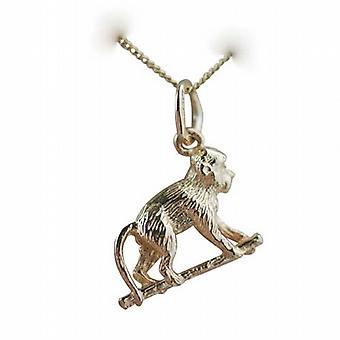 9ct goud 10x14mm aap op handen en voeten hanger met een curb Chain 20 inch