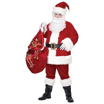 Deluxe Mr Santa Claus Red Dress Christmas Party Fancy kjole opp Mens drakt