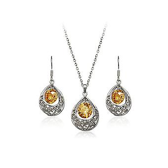 Silver and Beige Hollow Teardrop Jewellery Set Drop Earrings and Necklace