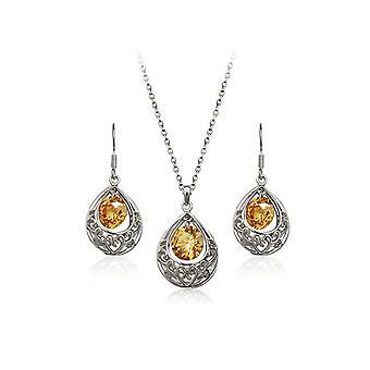 Brincos de gota conjunto de joias prata e bege Teardrop oco e colar