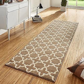 Diseño Terciopelo alfombra corredores puente Glam Brown crema