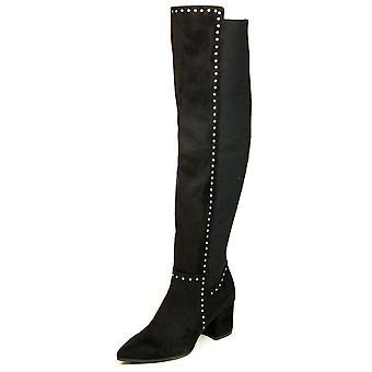 Zeven wijzerplaten Womens Nicki stof wees teen Over knie Fashion laarzen