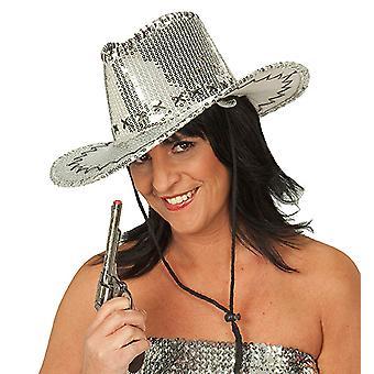 Srebrny cekin kowbojski kapelusz