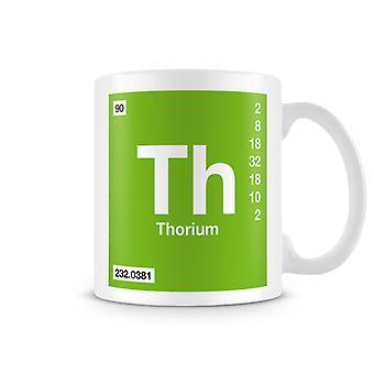 Научные печатные кружка, показывая элемент символ 090 Th - тория