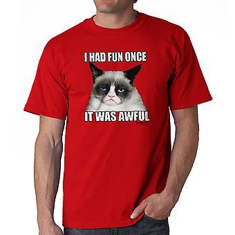 Grumpy Cat uitgesneden rode T-shirt voor mannen