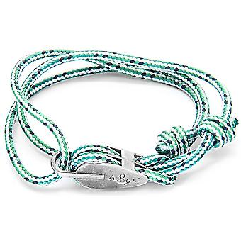 Anchor and Crew Tyne Silver and Rope Bracelet - Green Dash