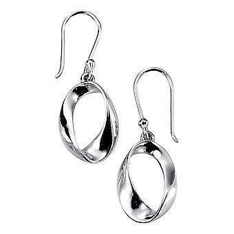 Elementen zilver Open Twist ovale Drop Oorbellen - zilver