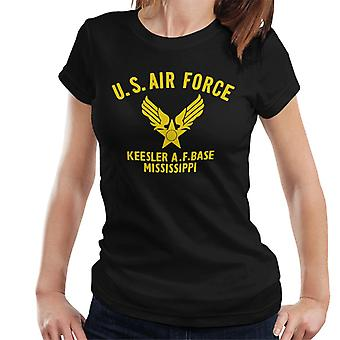 US Airforce Keesler AF Base Mississippi Yellow Text Women's T-Shirt