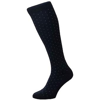Pantherella Gadsbury Motif Pin Dot Cotton Lisle Over the Calf Socks - Navy